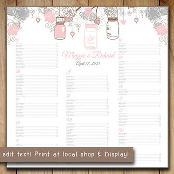"Wedding Seating Chart Template | Mason Jar Blush Pink Gray Chocolate Brown Word Template | Editable Text | 22"" x 22"" Wedding Download"
