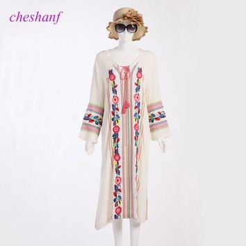 2018 Women Vintage Bohemian Long Flare Sleeve Fashion Midi Long White Mexican Embroidered Dress 1655