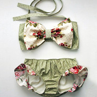 Children's Swimwear Baby Girls Bow Two Piece Swimsuit Bechwear Bikinis Biquinis Kids Swimsuit Bathing Suit CH023