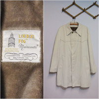1970s Vintage Mens London Fog Jacket Trench Coat Size 44 l/xl