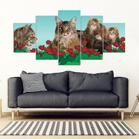 Maine Coon Cat2 Print-5 Piece Framed Canvas- Free Shipping