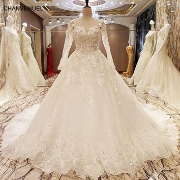 LS70776 elegant lace wedding dress long sleeves ball gown crystal wedding gowns with long tail robe de mariage 2017 real photos