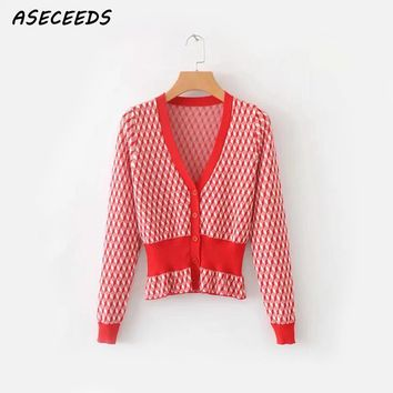 Cardigan sweater women long sleeve coat v-neck sueter mujer invierno 2018 plaid red korean fashion autumn clothes