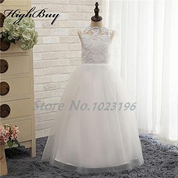 HighBuy 2017 New White/Ivory Puffy Toddler Ball Gown First Communion Dresses for Girls Birthday Rustic Lace Flower Girl Dresses