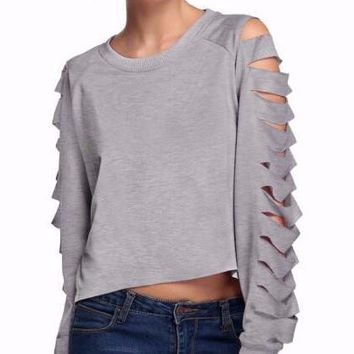 Zoon Cutout Cropped Pullover Sweatshirt