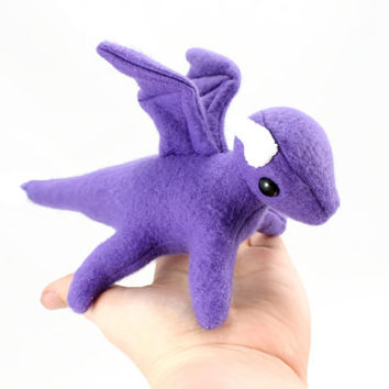 Purple Dragon Stuffed Animal, Plushie, Plush Toy, Softie, Toy Animal, Small Stuffed Dragon