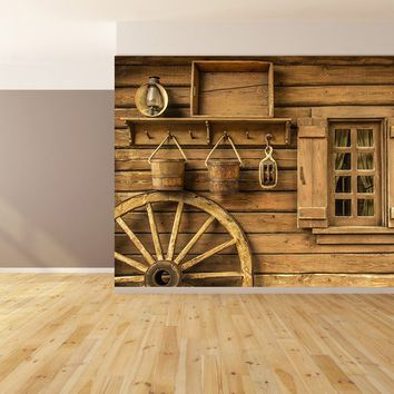 Log Cabin Wagon Wheel Custom Wallpaper Peel and Stick