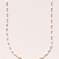White Bead and Gold Necklace