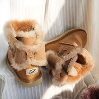 """UGG"" Fashion Winter Women Bowknot Flat Warm Snow Ankle Boots G"