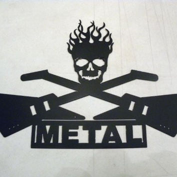 Crossed Electric Guitars with Metal Word and Skull Metal Wall Art Home Decor