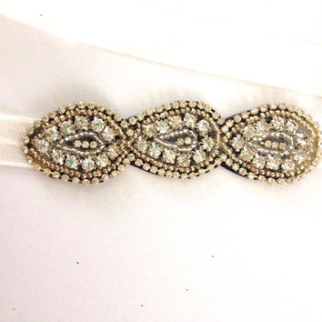 One Anthropologie Inspired Beaded Rhinestone Appliqué Clear Neutral and Gold Detailed Embellished Stretch Headband Photo Prop