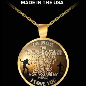 To my mom, my hero - Love you pendant necklace