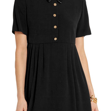 Bow-embellished pleated crepe mini dress | Saint Laurent | US | THE OUTNET