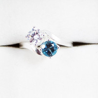 London Blue Topaz and White CZ Two Stone Ring - Sterling Silver
