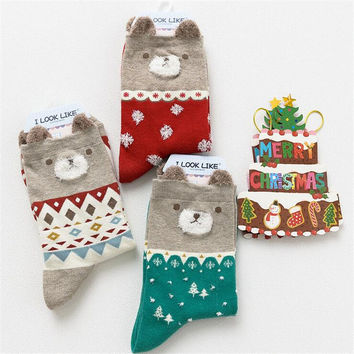 3pairs/lot  new fashion Cotton Christmas women cotton Socks  lovely cartoon socks christmas Gift Fashion bear Socks