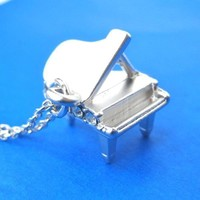 Miniature Music Realistic Grand Piano Pendant Necklace in Silver