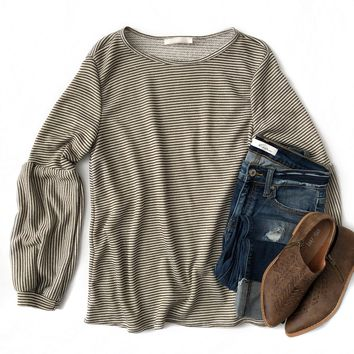 Olive Striped Bubble Sleeve Top