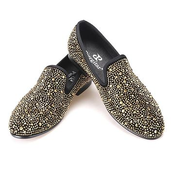 Luxury Evening Party Gold Crystals Men's Suede Crafted Slip-on Shoes The Focus of Floor Men Loafer for Wedding Prom and Banquet