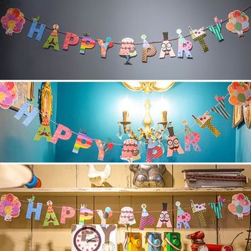 Happy Birthday Party Banner String Paper Garland Hanging Bunting Decoration Paper Flags Banner Decor Birthday Party Supplies