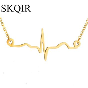 SKQIR Heartbeat Love Necklaces Nurse Medical Jewelry Stainless Steel Link Chain Necklace Rose/Gold/Silver Necklaces