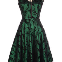 Emerald & Onyx Lace Cocktail Dress