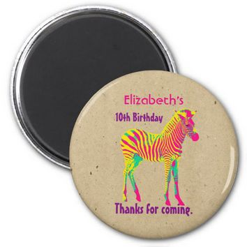 Neon Zebra Baby Animal Psychedelic Birthday Thanks 2 Inch Round Magnet