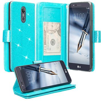Stylo 4 Case, LG Stylo 4 Case, Glitter Faux Leather Flip Credit Card Holder Wrist Strap Shockproof Protective Wallet Case Clutch for LG Stylo 4 - Teal