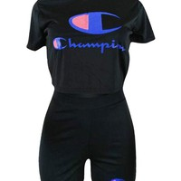 Champion Fashion Women Sexy Print Short Sleeve Sport Gym Sweatpants Set Two-Piece Sportswear Black I13582-1
