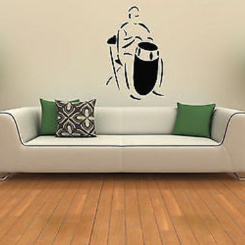 MAN BEATING THE DRUM MUSIC CUTE WALL VINYL STICKER  DECALS ART MURAL T367
