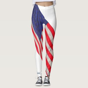 American Flag on White Background w/Name Leggings