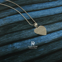 Love Heart Necklace, Sterling Silver, White Gold Plated, Personalized, Hand Engraved Letters in English & Arabic, NE003A