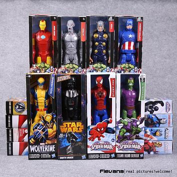 "Titan Hero Series Avengers Superheroes PVC Action Figures Toys 12"" 30cm Iron Man Spiderman Thor Captain America HRFG451"