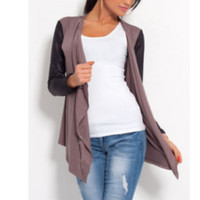 New Arrival Hot Women PU Leather Sleeve Irregular Sweater Cardigan Casual Knit Coat Outwear