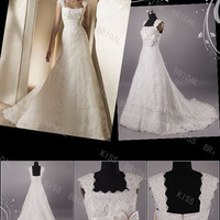 Gorgeous Trumpet/Mermaid Strapless Capped-Sleeve Appliques Wedding Dresses