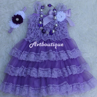 Baby girl dress - 4 pcs girl dress - lace dress - baby girl clothes - girl clothes - wedding dress for girl - lavander dress - lilac dress