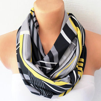 Striped Print Loop Infinity Circle Scarf Soft and Lightweight Black Grey Yellow
