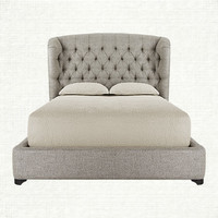Mariah Tufted Upholstered Queen Bed In Taft Pewter And Fossil | Arhaus Furniture