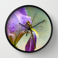 Say Hello To Spring - Dragonfly on Flower Wall Clock by Jai Johnson