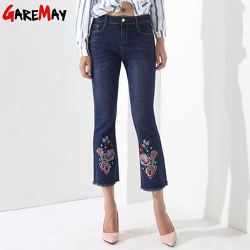 Jeans Female Embroidery Denim Pants Embroidered Flared Jeans For Women Capris Bell Bottom Tassel Pantalon Mujer Trousers GAREMAY