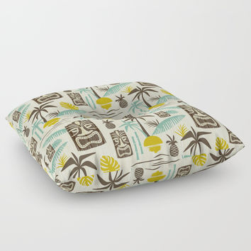 Island Tiki - Tan Floor Pillow by Heather Dutton