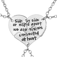 3 pcs/set Friendship Jewelry Hand Stamped Apart We Are Sisters Connected At Heart Sister BFF Necklace gift