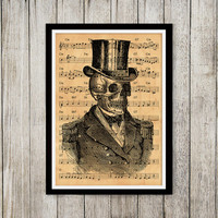 Vintage print Skeleton poster Music notes print Old paper art NP087