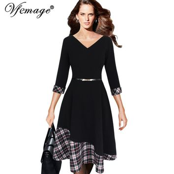 Vfemage Womens Asymmetric Hem V-neck Vintage Polka Dot Contrast 3/4 Sleeves Work Casual Party Fit and Flare A-line Dress 10101