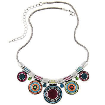2017 New Choker Necklace Fashion Ethnic Collares Vintage Silver Plated Colorful Bead Pendant Statement Necklace For Women Jewelry -0330