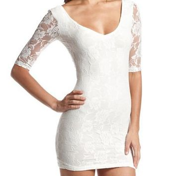 All Lace Bow-Back Dress: Charlotte Russe