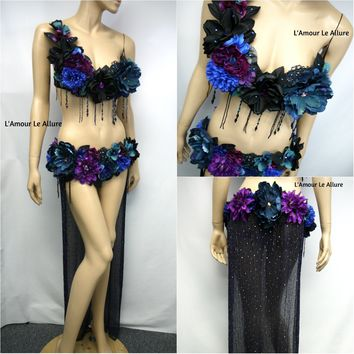 Two Piece Dark Midnight Rose Fairy Gown with Train Costume Rave Belly Dancer