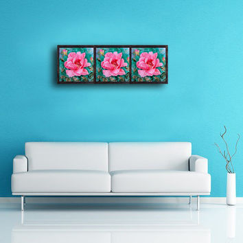 Pink Flower Peony Large Print - Triptych Set of 3 Three piece Prints, Landscape Print of Original Watercolor Paiting, Wall & Home decor