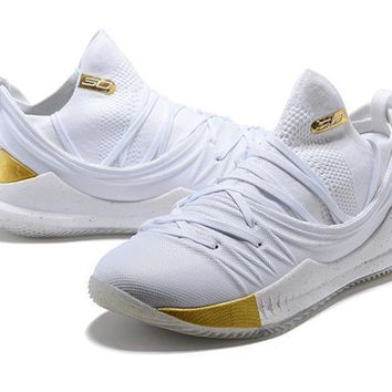 Under Armour Ua Curry 5 White/gold Basketball Shoe