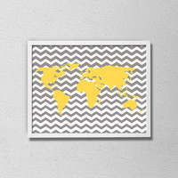 World Map Yellow and Gray Chevron Poster. Travel Art. Minimalist Poster. World Map Art. Nursery Print. Modern Home Decor. Chevron.