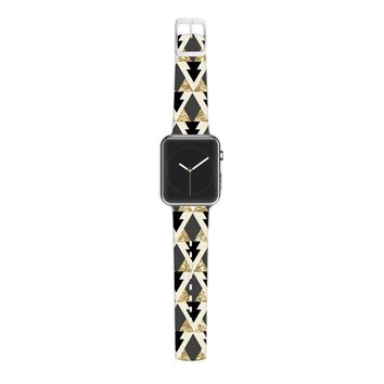 KESS InHouse Nika Martinez 38mm Strap for Apple Watch Band - Non-Retail Packaging - Glitter Triangles in Gold and Black/Geometric